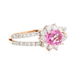 1.42 ctw Pink Sapphire And Diamond Ring - 14KT Rose Gold