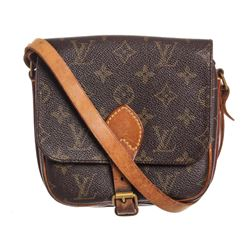 Louis Vuitton Monogram Canvas Leather Cartouchiere PM Shoulder Bag