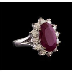 GIA Cert 4.09 ctw Ruby and Diamond Ring - 14KT White Gold