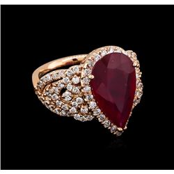 5.35 ctw Ruby and Diamond Ring - 14KT Rose Gold