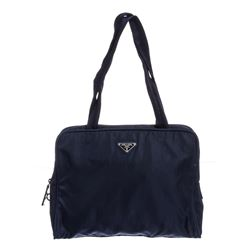 Prada Navy Blue Nylon Double Handle Handbag