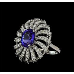 3.56 ctw Tanzanite and Diamond Ring - 14KT White Gold