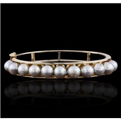 14KT Yellow Gold Pearl Bangle
