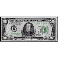 1934A $500 Federal Reserve Note Cleveland - Corner Repair