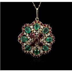 14KT Yellow Gold 11.78 ctw Ruby, Emerald and Diamond Pendant With Chain
