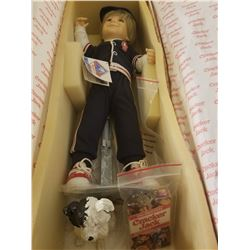 "16"" CRACKER JACK BOY DOLL - BALLPLAYER OUTFIT W/DOG BINGO & PRIZE (IN ORIGINAL BOX)"