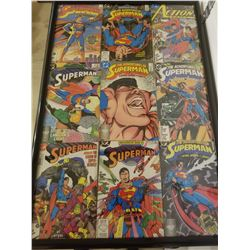 "FRAMED COLLECTION OF 9 ORIGINAL COMICS (SUPERMAN) *30""X20"""