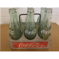 COCA-COLA 6 PACK (TIN CARRY CASE) & GREEN BOTTLES (VINTAGE)