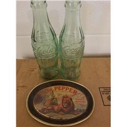 2 GREEN 6 OZ COKE BOTTLES & 1979 DR. PEPPER TIP TRAY