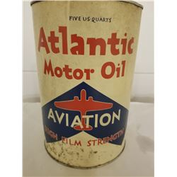 OIL TIN (ATLANTIC MOTOR OIL) *AVIATION 5 QT*
