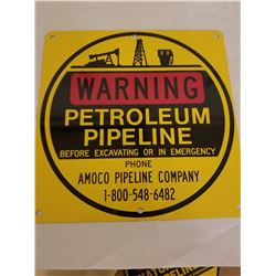 PIPELINE CROSSING SIGN (AMOCO) *MINT UNUSED*'