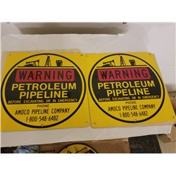 PAIR OF PIPELINE CROSSING SIGNS (AMOCO) *MINT UNUSED*'