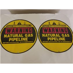 "PAIR OF NATURAL GAS PIPELINE CROSSING SIGNS *UNUSED 12""*"