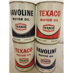 LOT OF 4 (TEXACO QUART TINS) *FULL* (NEW OLD STOCK)