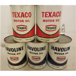 LOT OF 5 (TEXACO QUART TINS) *FULL* (NEW OLD STOCK)