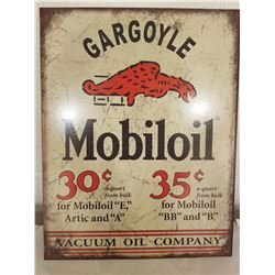 "TIN SIGN (REPRODUCTION-MOBIL OIL GARGOYLE) *12"" X 16""*"