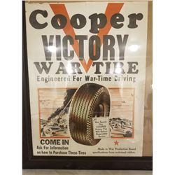 "TIRE AD (COOPER VICTORY TIRE) *WAR TIME* (16"" X 21"" FRAMED)"