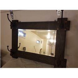 "HALL MIRROR (MISSION OAK) *W/HOOKS, BEVELED* (28"" X 20"")"
