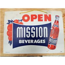 "MISSION ORANGE OPEN/CLOSED DOOR SIGN 1950s CARDBOARD 10"" BY 14"""