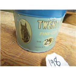 "TOBACCO TIN (TWENTY GRAND 25 CENTS) *LID HAS HOLES*, 3"" TALL, 3.5"" ACROSS, NICE GRAPHICS*"