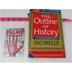 HARD COVER BOOK & BOOKLET 'THE OUTLINE OF HISTORY (H.G. WELLS) & HOW TO READ PALMS & FINGERPRINTS