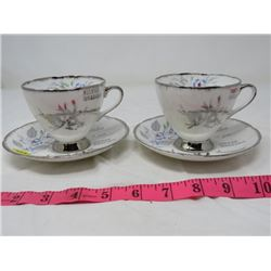 LOT OF 2 CUPS & SAUCERS (SILVER WEDDING)