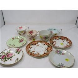 LOT OF 9 - FOUR CUPS, FIVE SAUCERS (CLIFTON CHINA , ROYAL ALBERT, ETC)