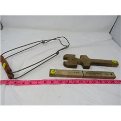 FISHERMAN'S FLOATING KNIFE, CANNING JAR TOOL & WOODEN WRENCH