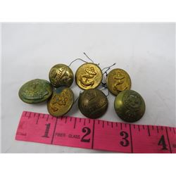LOT OF 7 MILITARY & NAVY BRASS BUTTONS