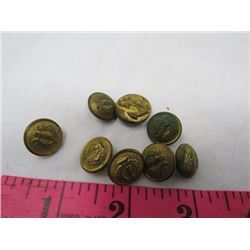 SMALL MILITARY & NAVY BUTTONS (QTY 8)