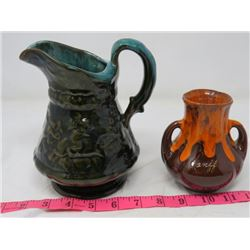PITCHER (BLUE MOUNTAIN LIKE) & VASE (FROM BANFF)