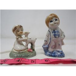 BOY (HAND PAINTED, CHINA) & GIRL FIGURINES