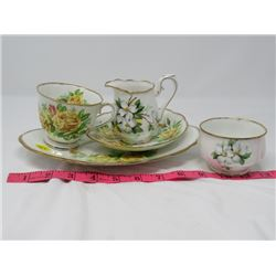 TEACUP, SAUCER, PLATE, CREAM & SUGAR (ROYAL ALBERT)