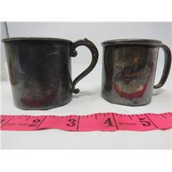 2 MUGS (WA RODGER SILVER PLATE) & (VICTORIA EP ON COPPER)