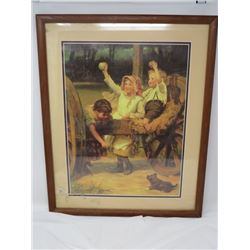 "PRINT OF KIDS IN THE YARD (FRED MORGAN 1882) *FRAMED 17"" X 21""*"