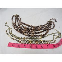 LOT OF TWO COSTUME JEWELLERY NECKLACES (1-5 STRAND & 1-3 STRAND)