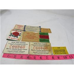 LOT OF ASSORTED HOUSEHOLD COUPONS (RED ROSE, NABOB, ROYAL CROWN) *VINTAGE*