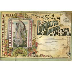 COMPLETE BOOKLET OF 10 POSTCARDS (SOUVENIR VIEWS OF COWBOYS AND INDIANS IN WESTERN CANADA) *VINTAGE*