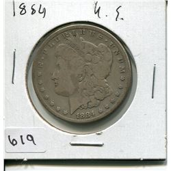 1884 US MORGAN SILVER DOLLAR