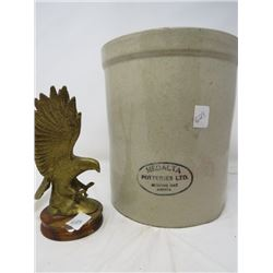 LOT OF 2 MEDALTA CROCK (1 GAL) *HAS CRACK* & BRASS EAGLE (ON WOOD BASE)