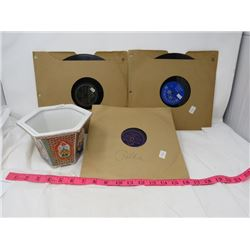 THREE 78 RPM RECORDS & PLANT POT (MARKED JAPAN)