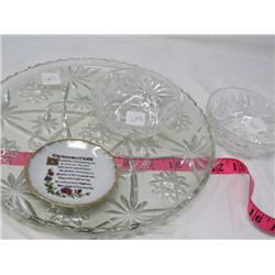 SERVING PLATE (LARGE, GLASS), 2 MATCHING SMALL FRUIT DISHES, SMALL PLATE (GRANDMOTHER VERSE)