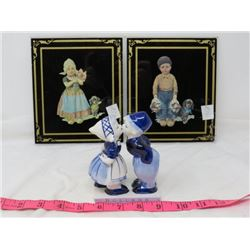 LOT OF 3 (REVERSE PAINTINGS OF BOY & GIRL *1 IS CRACKED*) PORCELAIN OF DUTCH BOY/GIRL *KISSING*