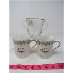 LOT OF 3 (2 PORCELAIN 25TH ANNIV. CUPS & GLASS SUGAR DISH)