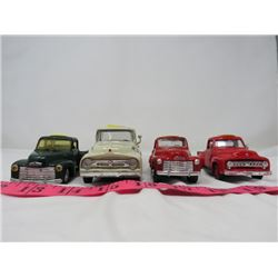 """LOT OF 4 TOY TRUCKS (3 ARE 4"""" L; 1 IS 5""""L) *2 FORD, 2 CHEV*"""