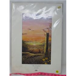 """PRINT 'THE HEARTLAND' (GLEN SCRIMSHAW) *MAT IS WATER STAINED* (20 X 14"""")"""