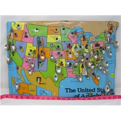 COLLECTION OF SPOONS (U.S.) MOUNTED ON WALL MAP PLAQUE