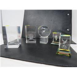 LOT OF 5 MED ART IN GLASS BLOCKS (2 SKULL/CROSSBONES, 1 EA SPIDER, DRAGON, HORSE)