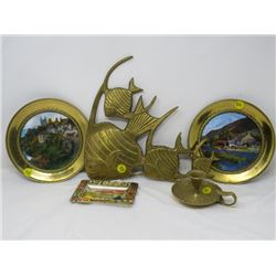 METAL WALL DÉCOR (FISH), CANDLE STICK HOLDER, PLATES, MINI TRAY
