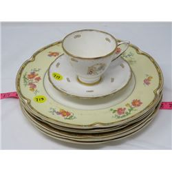 6 MATCHING PLATES (JOHNSON BROTHERS), TEA CUP & SAUCER (NO CHIPS/CRACKS)